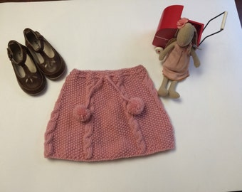 Knitted pink skirt. For toddler girl . 12-18 months .