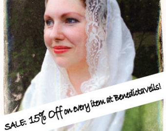 Mid-summer SALE: 15% Off on every item at BenedictaVeils ! Catholic Mantilla Veil, Chapel Veils for Mass, Church Veils, Latin Mass Veil