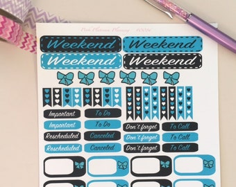 Teal and Black Bows Weekend To Do Don't Forget