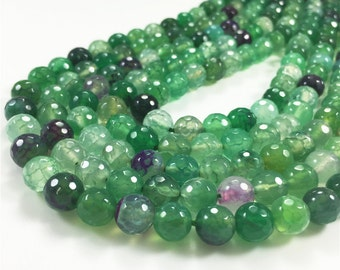 8mm Faceted Green Agate Beads, Gemstone Beads, Wholesale Beads