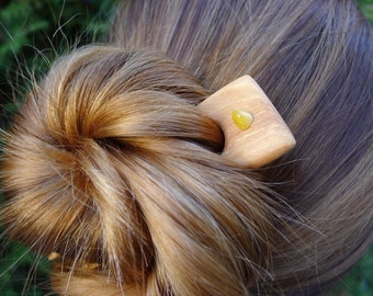 Handmade apple tree amber gemstone wooden hair comb pin/ wood fork eco organic, handcrafted wood beeswax hair accessories unique natural