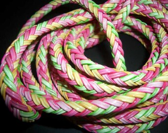 SALE - interlace 6mm wide - pink green yellow - per 10cm