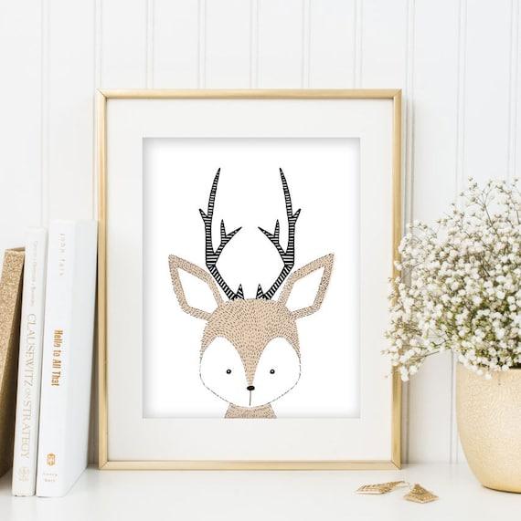 Deer Print Woodland Animal Woodlands Nursery Wall Art Printable Animal Woodland Decor Baby Deer Animal Print Deer Head Download Deer Antlers