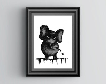 Ink Elephant Art Print, Animal Art Print, Large Wall Art Print, Vertical Art, Original Art, Black and White Art Print, Ink Art Print