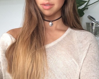 Flower Power Leather Choker Necklace