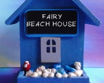 Fairy Beach House. Medium. OOAK Blue or Purple Wooden. Hand Painted. Can be Made to Order. Sparkling