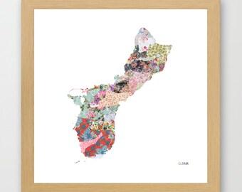 GUAM MAP, guam painting, guam art, colorful map, flowers composition, roses, Giclee Fine Art, Poster Print