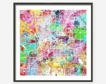 AKRON MAP OHIO, colorful painting map