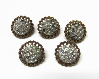 VIntage Gold Tone and Rhinestone Shank Buttons