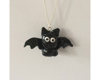 Bat Necklace - halloween clay goth jewellery gift christmas alternative
