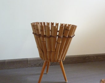Small pot holder tripod wood and bamboo, 1960s vintage