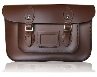 "12.5"" Classic British Leather Satchel 100% Real Leather - Chestnut Brown"