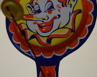 Clown clapper Tin - Noisemaker toy by Krishof, made in the USA