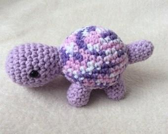 Crochet Tortoise, Pastel Purple, Small