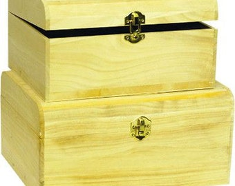 Trunks caskets with hook for decoupage, set of 2 pieces-wooden