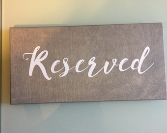 Wooden reserved sign wedding