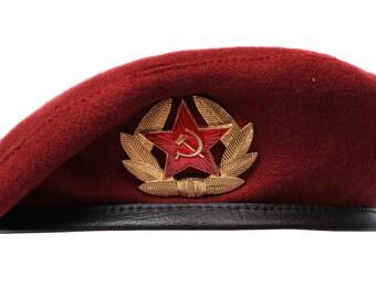 Soviet Special troops MVD maroon Beret hat