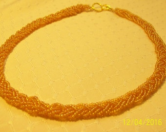 Golden Seed Bead Woven Necklace