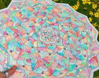 """Watercolor Mandala 17"""" x 17 1/2"""""""