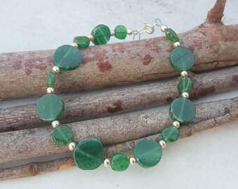 Aventurine Bracelet - Emerald Green Bracelet - Green Bracelet - Green Stone Bracelet - Green Aventurine Bracelet - Aventurine Coin Bracelet
