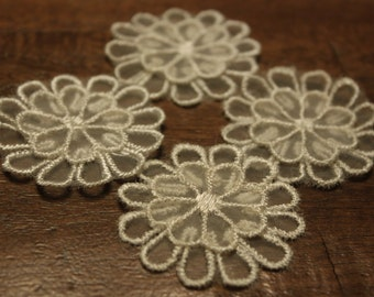 Ivory lace flower applique, two layers 3D flower applique, set of four, 2 inches by 2 inches
