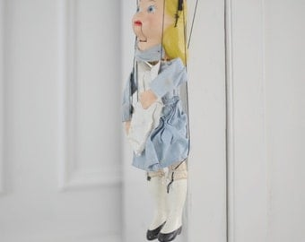 Vintage composition marionette puppet Alice in Wonderland