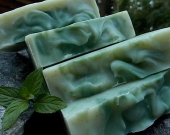 Peppermint Soap - Essential Oil, Cold Process, Herbal, Dandelion - All Natural Artisan Soap - Vegan - Herbal Skin Care