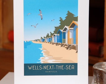 Greetings Card of Wells-Next-the-Sea Beach Huts, Norfolk, Portrait
