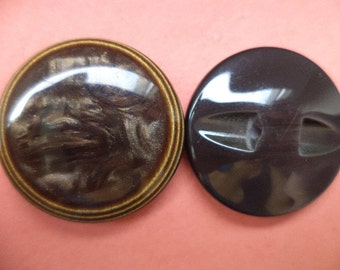 5 large buttons button dark brown 29mm (2247)