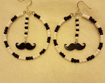 Memory Wire mustache earrings