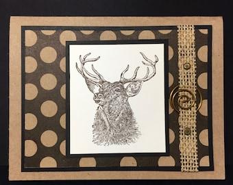 Hunters Birthday Card, Buck, Deer, Hunting, Handmade