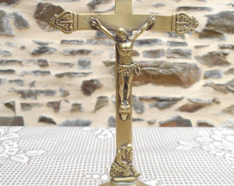 Vintage French Brass Altar, Standing, crucifix on a solid brass base.