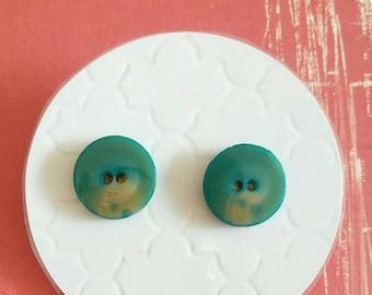 ON SALE Vintage Button Stud Earrings - Surgical Steel