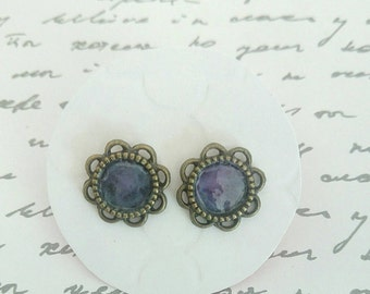 Bronze & Purple Enamel Stud Earrings - Surgical Steel Posts