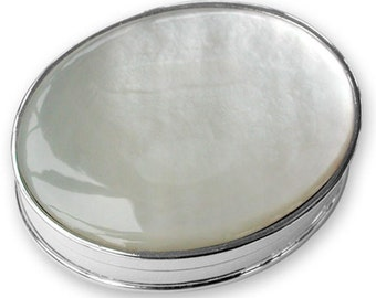 Sterling silver MOP Oval tooth/pill box