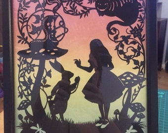 Alice in wonderland paper cut