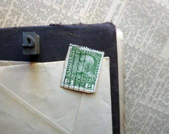 Antique Postage Stamp Green Austrian Emperor Franz Joseph 5 Heller