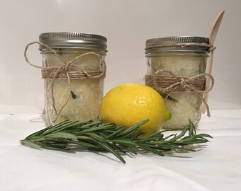 Homemade sugar scrub in lemon + rosemary
