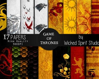 Game of Thrones inspired Scrapbook Paper Set/ INSTANT DOWNLOAD/ Printable/ Diy/ Scrapbooking/ Paper/ digital paper/ textures/ crafts GOT