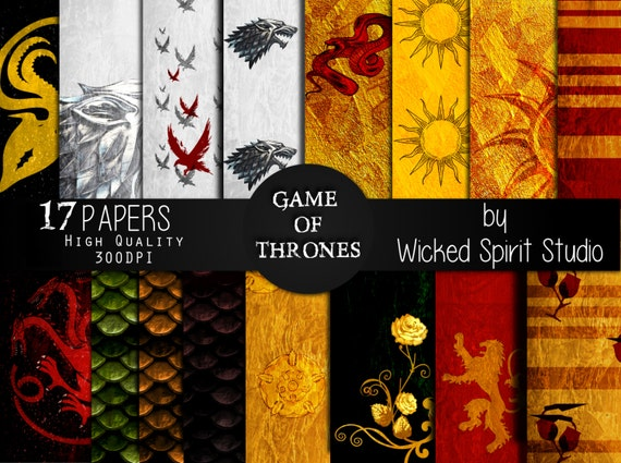 game of thrones inspired scrapbook paper set   instant