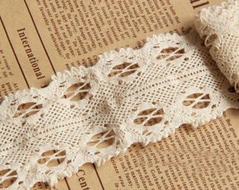 """10 yard 5cm 1.96"""" wide ivory cotton  embroidered lace trim ribbon tapes q44s5f free ship"""