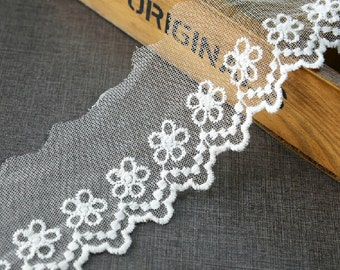 "20 yard 6cm 2.36"" wide ivory mesh embroidery lace trim ribbon L22K443 free ship"