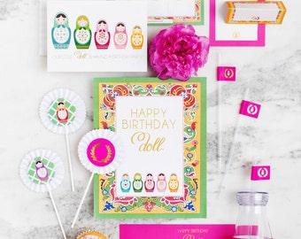 Matryoshka Party Stationery Set, Nesting Doll Party Supplies, Russian Nesting Doll Party, Doll Birthday Party