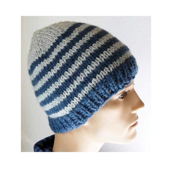Knitting Patterns For Beginners Beanie : Knitting PATTERN Knit Beanie Pattern Mens Knit Hats