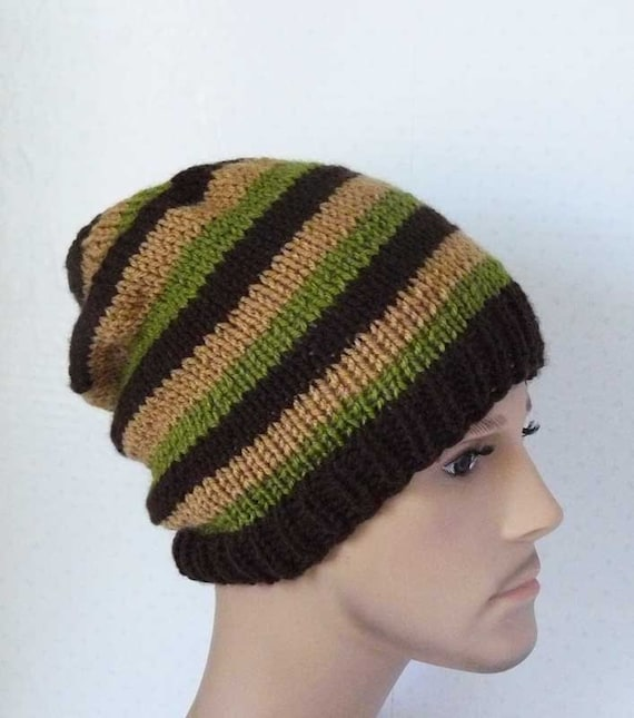 Knitting Hat Patterns For Beginners : Knitting pattern knit slouchy beanie mens