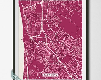 Daly City Print, California Poster, Daly City Poster, Daly City Map, California Print, Street Map, California Map, Dorm Decor