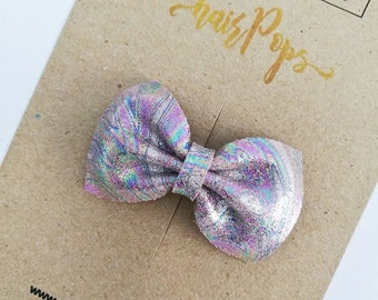 Genuine Leather Bow Clip - Pink
