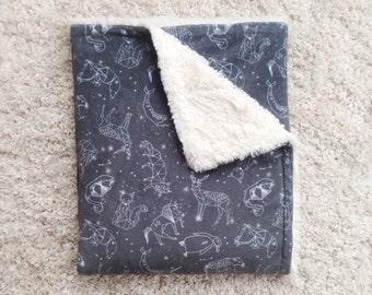 Constellations Baby Blanket, Faux Fur Blanket, Minky Baby Blanket, Modern Baby Blanket, Plush Baby Blanket, Baby Shower Gift, Gender Neutral
