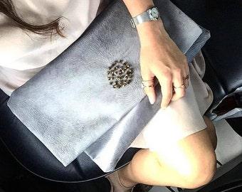 Bag & clutch vintage, Handmade clutch, Fold over clutch, Clutch evening, Day bag clutch
