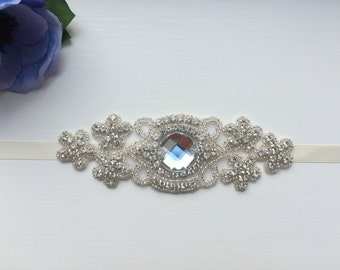 Bridal accessories pearl rhinestone beaded lace wedding cuff with cream or white satin bow vintage style